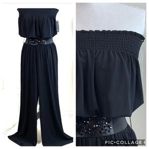 Grass, pull on jumpsuit, strapless wide leg belted